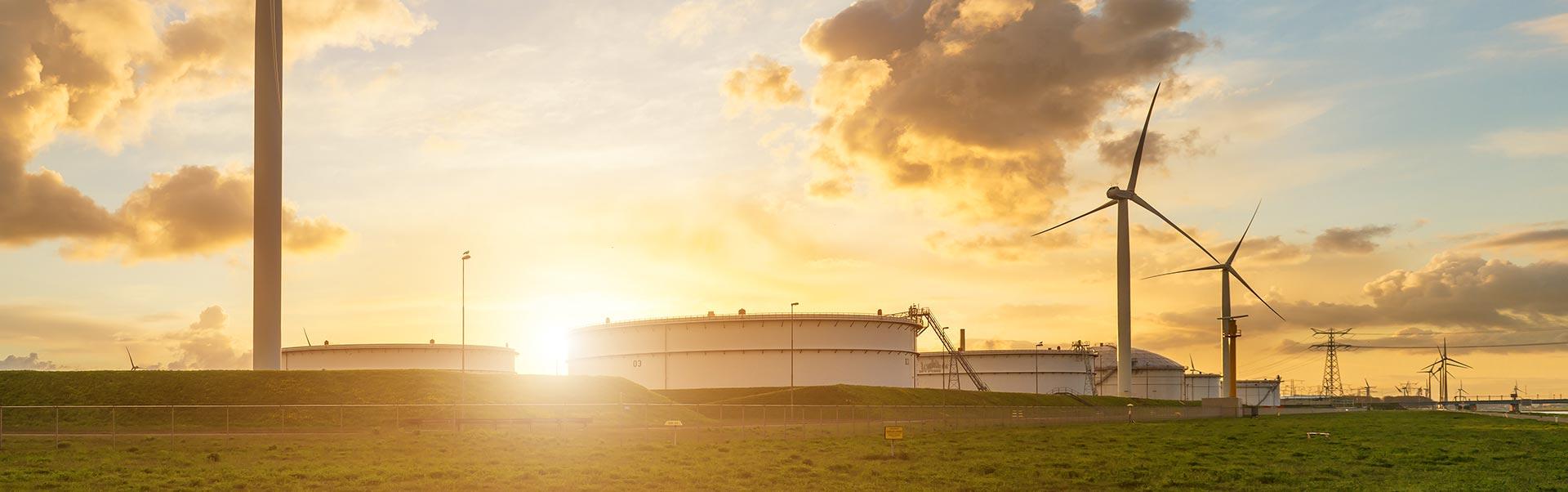 Storage Terminal Wind Farm Power Lines Oil Gas Electricity Sunset EIPIX EIPFX Fund